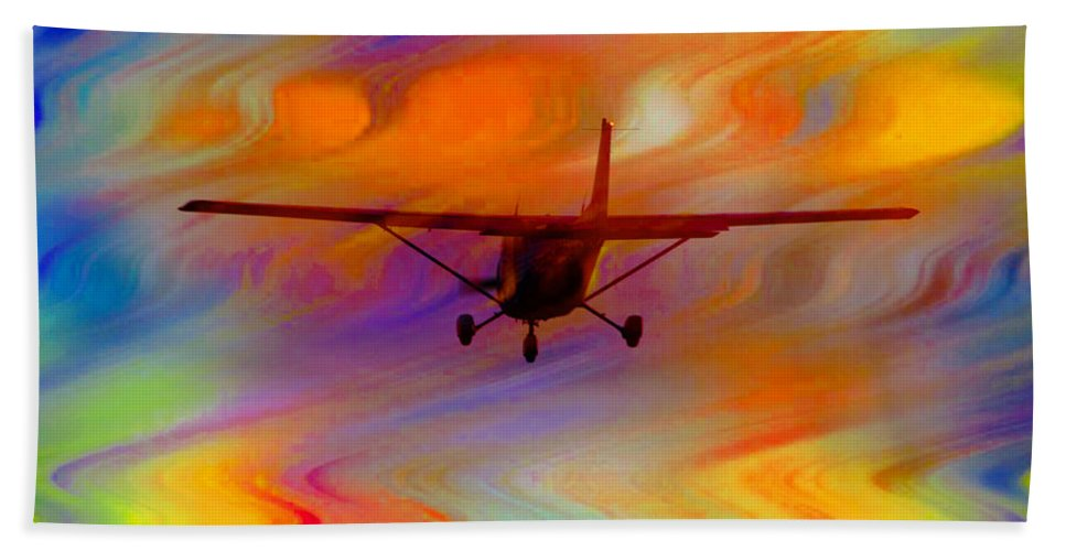 Plane Hand Towel featuring the photograph Flying Into A Rainbow by Ericamaxine Price