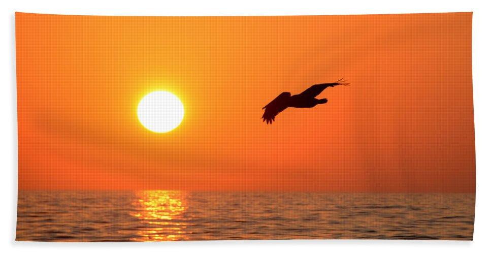 Fine Art Photography Bath Sheet featuring the photograph Flying Into The Sun by David Lee Thompson