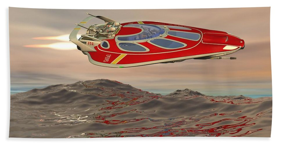 Digital Art Hand Towel featuring the digital art Flying Just Above The Waves by Michael Wimer