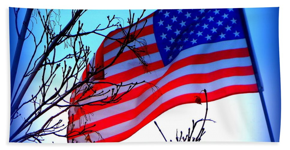 Acrylic Prints Hand Towel featuring the photograph Flying Ol Glory by Bobbee Rickard