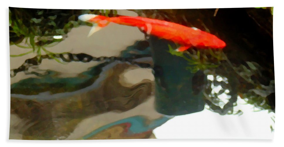 Koi Hand Towel featuring the photograph Flying On The Surface by Marcello Cicchini