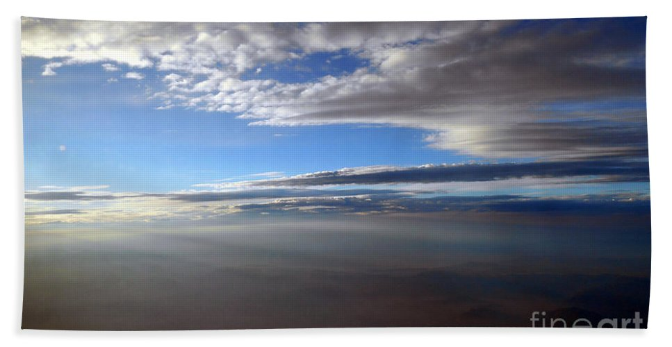 Mountain Hand Towel featuring the photograph Flying Over Southern California by Christopher Shellhammer
