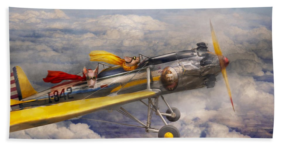 Pig Hand Towel featuring the photograph Flying Pig - Plane - The Joy Ride by Mike Savad