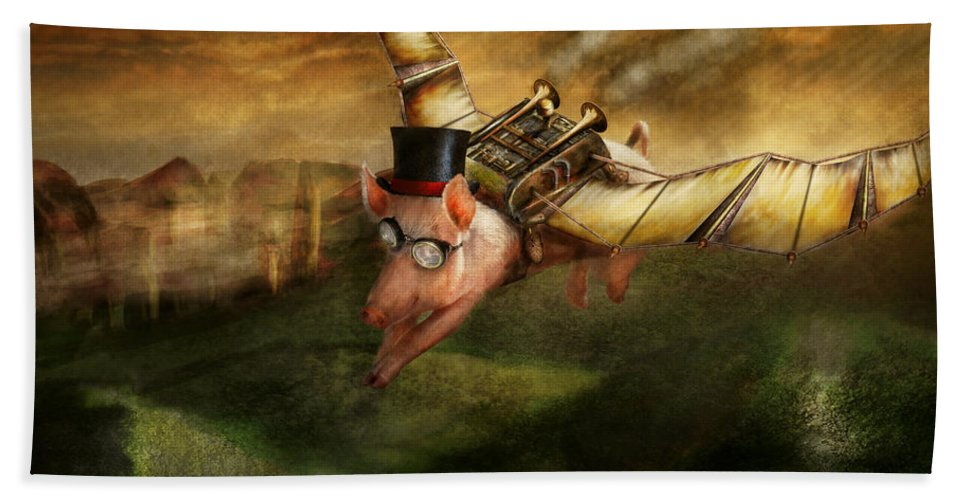 Pig Bath Towel featuring the photograph Flying Pig - Steampunk - The Flying Swine by Mike Savad