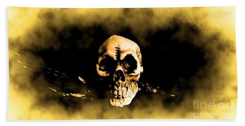 Skull Bath Sheet featuring the digital art Flying Through The Mist by John Malone