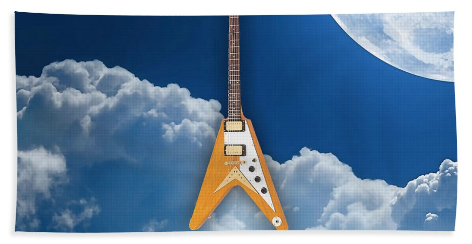 Fender Digital Art Bath Sheet featuring the mixed media Flying V Guitar by Marvin Blaine