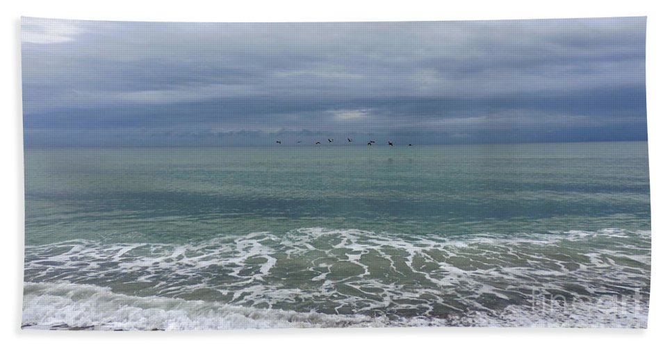 Beach Hand Towel featuring the photograph Flying Weather by Nancy L Marshall