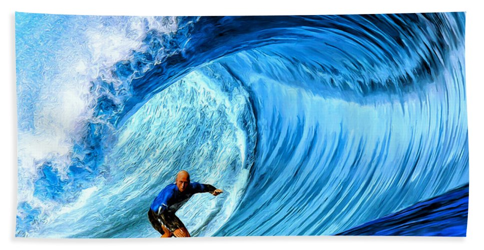 Surfer Bath Sheet featuring the painting Focus by Dominic Piperata