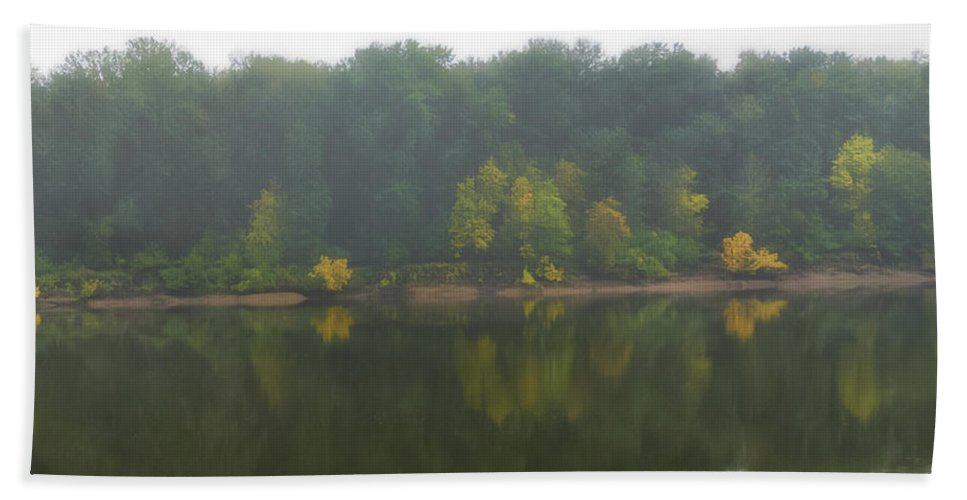 Fog Hand Towel featuring the photograph Fog Along The River by Dennis Reagan