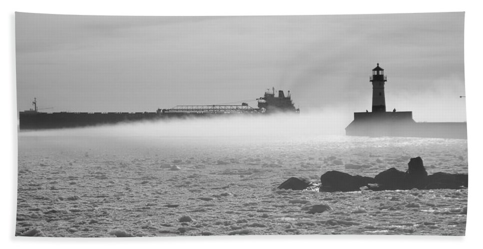 Lighthouses Hand Towel featuring the photograph Fog In Duluth by Alison Gimpel