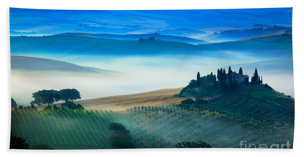 Europe Bath Sheet featuring the photograph Fog In Tuscan Valley by Inge Johnsson
