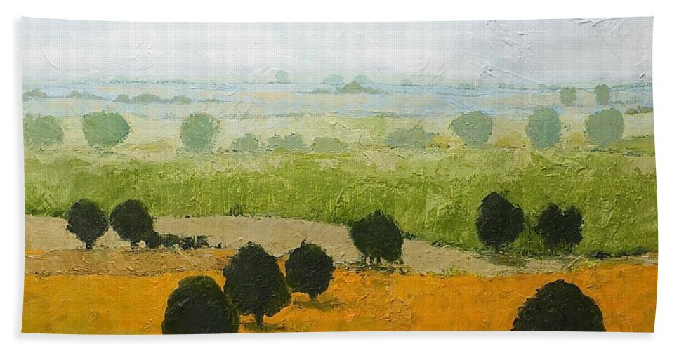 Landscape Bath Towel featuring the painting Fog Lifting Fast by Allan P Friedlander