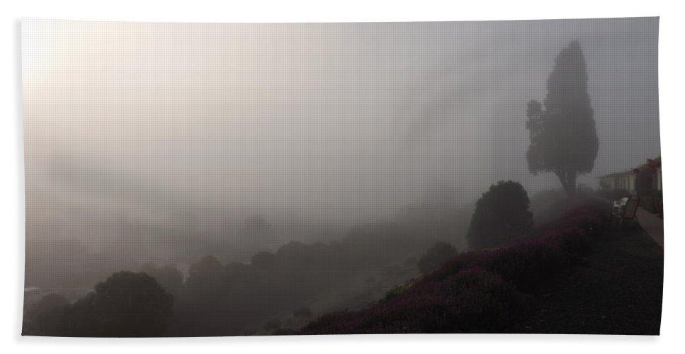 Fog Bath Sheet featuring the photograph Fog On A Hill by Jussta Jussta