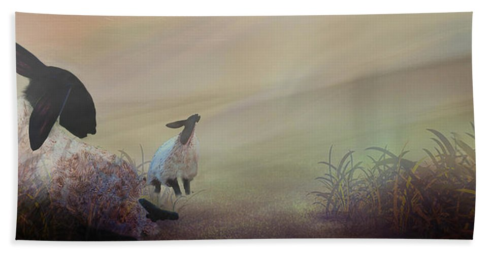 Black-faced Sheep Hand Towel featuring the digital art Fog On The Moor by Jean Moore