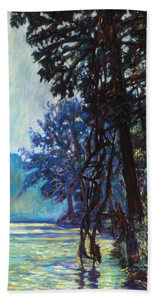 Kendall Kessler Hand Towel featuring the painting Fog On The New River by Kendall Kessler
