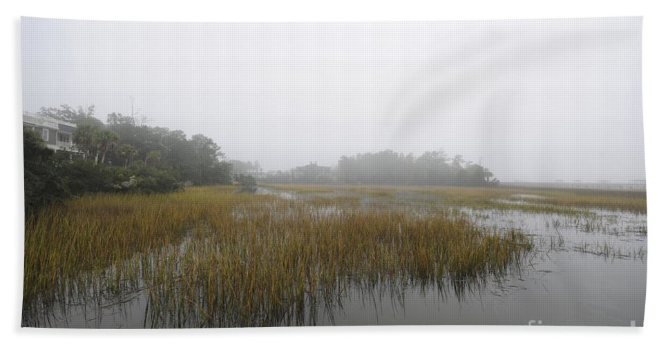 Fog Hand Towel featuring the photograph Fog Over The Marsh by Dale Powell