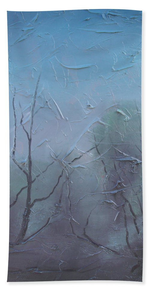 Landscape Bath Sheet featuring the painting Fog by Sergey Bezhinets