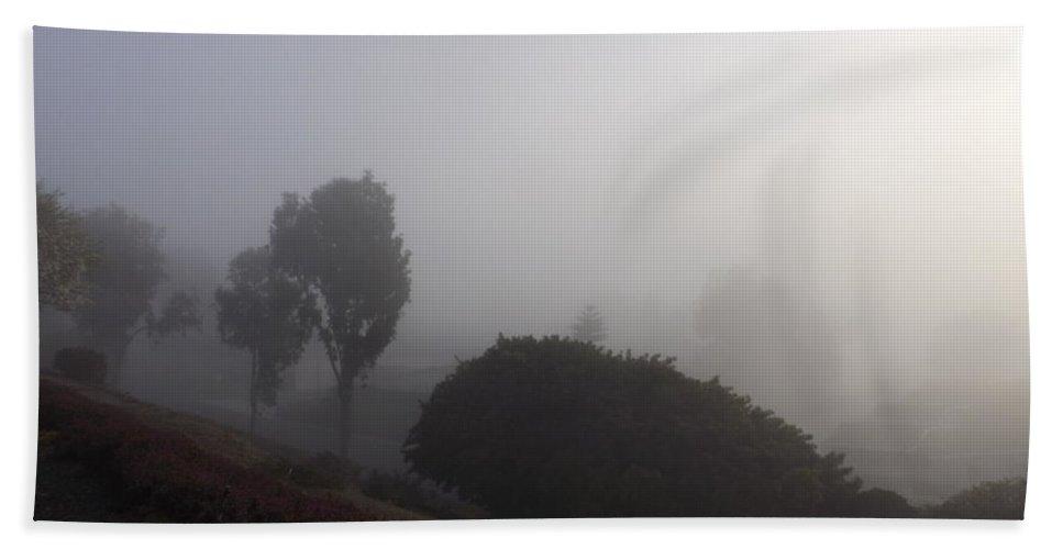 Fog Bath Sheet featuring the photograph Fog Through The Trees by Jussta Jussta