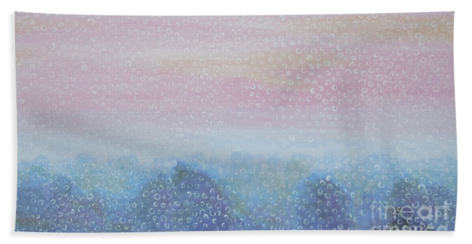 Landscape Hand Towel featuring the painting Fog by Tonya Henderson