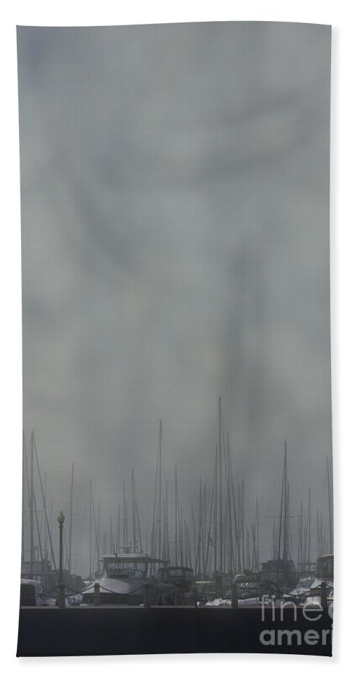 Boat; Docked; Pier; Dingy; Fog; Peaceful; Water; Sea; Ocean; Lake; River; Yacht; Harbor; Sail; Still; Hazy; Sailing; Marina; Mooring; Sport; Vessel Bath Sheet featuring the photograph Fogged In by Margie Hurwich