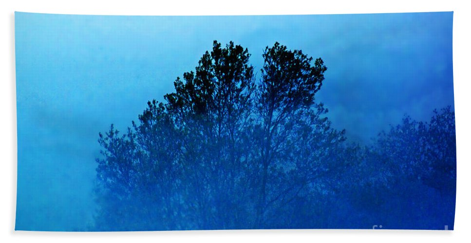Tree. Color Bath Sheet featuring the photograph Fogged Out by Joe Geraci