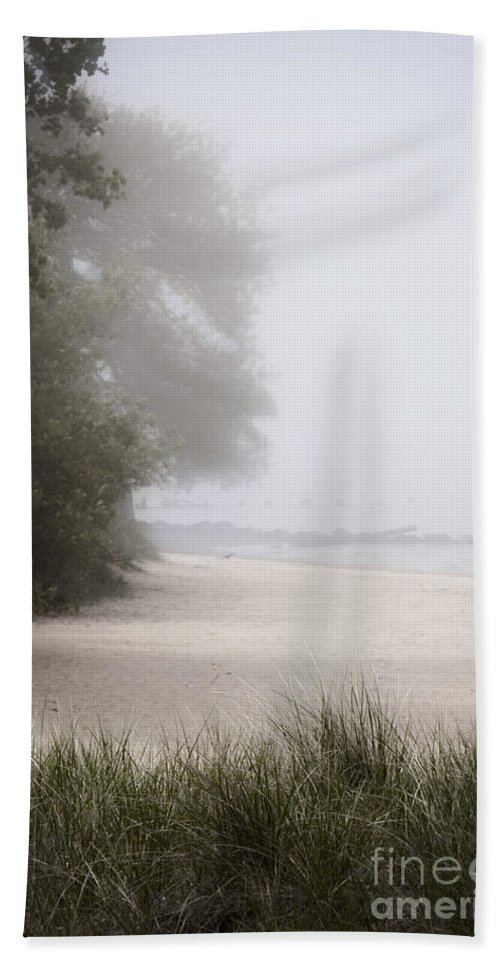 Alone; Beach; Sand; Grasses; Trees; Calm; Serene; Water; Sea; Ocean; Lake; Horizon; Coast; Empty; Sky; Quiet; Outside; Outdoors; Paradise; Shore; Trees; Fog; Grasses; Morning; Foggy Hand Towel featuring the photograph Foggy Beach by Margie Hurwich