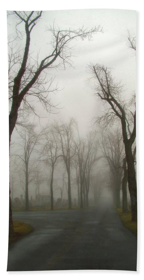 Dark Bath Sheet featuring the photograph Foggy Cemetery Road by Gothicrow Images
