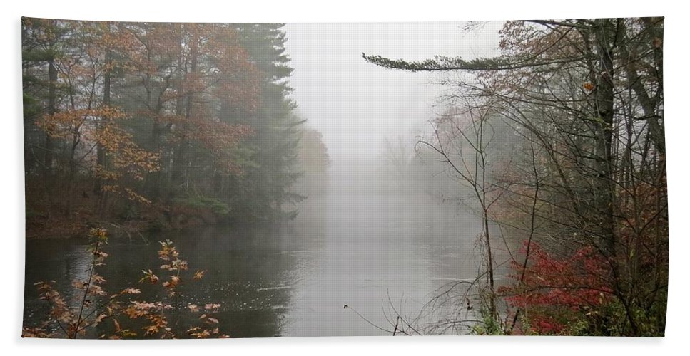 Ashuelot River Bath Sheet featuring the photograph Foggy Fall River by MTBobbins Photography