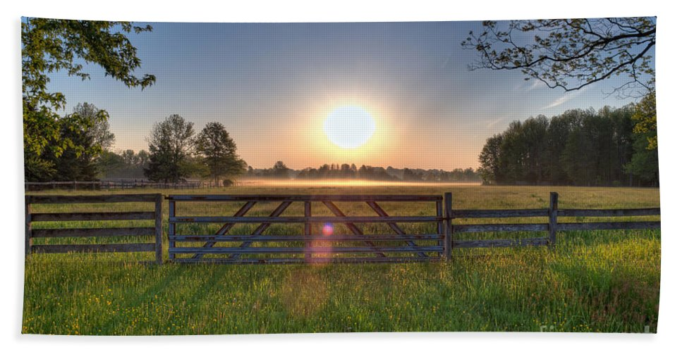 Landscape Bath Sheet featuring the photograph Foggy Field by Michael Ver Sprill