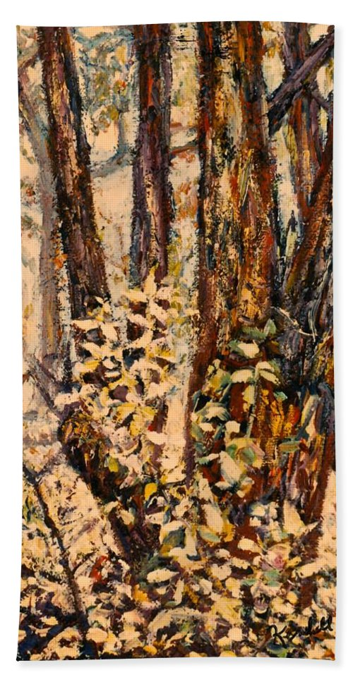 Forest Hand Towel featuring the painting Foggy Forest Edge by Kendall Kessler