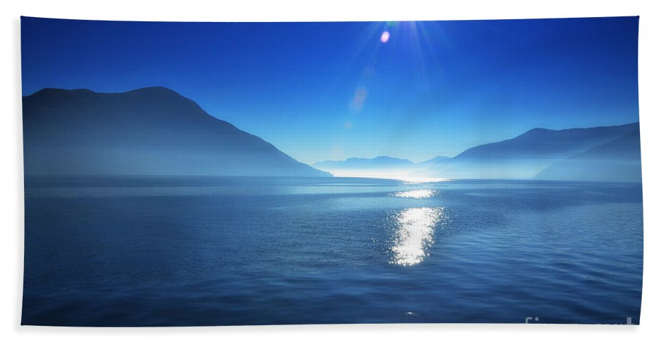Lake Bath Sheet featuring the photograph Foggy Lake With Sun by Mats Silvan