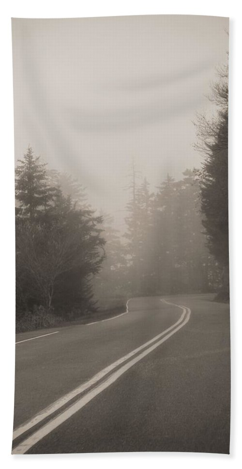 Into The Great Unknown Hand Towel featuring the photograph Foggy Morning Drive by Dan Sproul