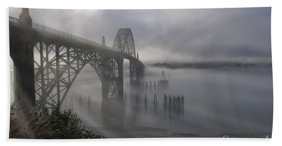 Bridge Hand Towel featuring the photograph Foggy Morning In Newport by Sandra Bronstein