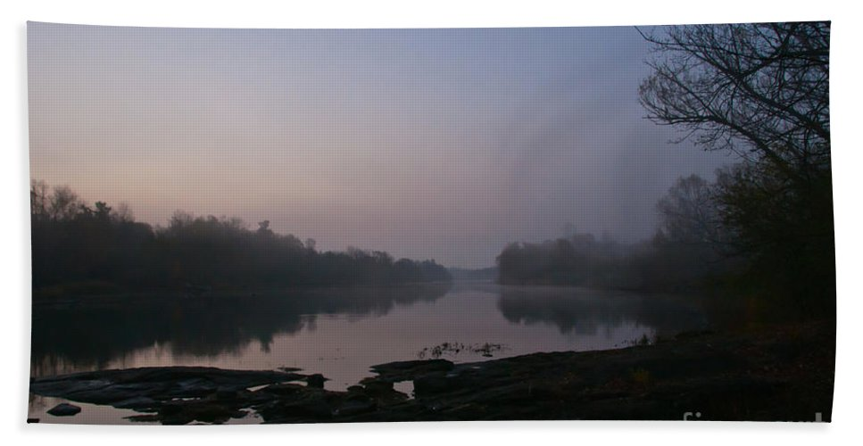 Landscapes Hand Towel featuring the photograph Foggy Morning On The River by Cheryl Baxter