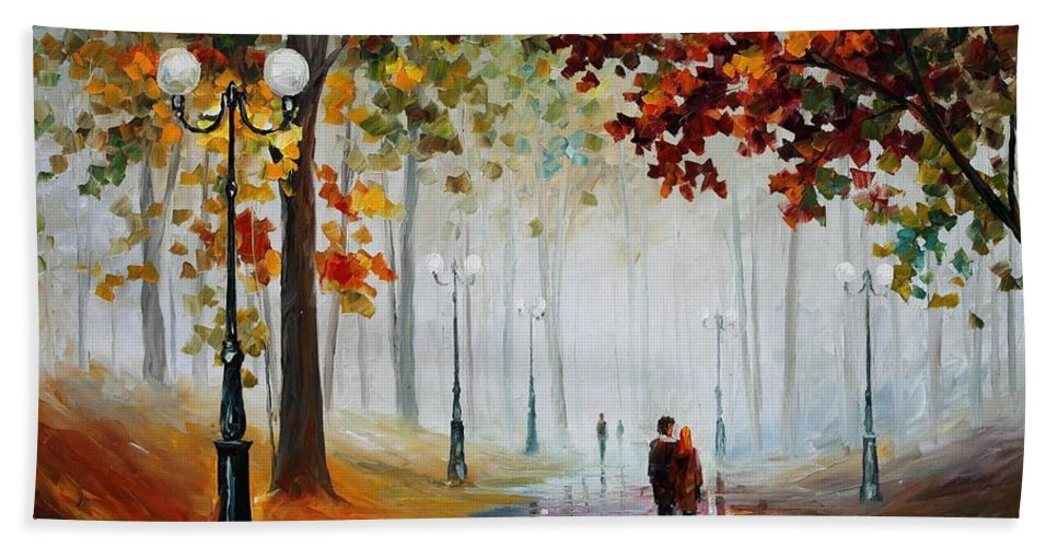 Leonid Afremov Bath Sheet featuring the painting Foggy Morning - Palette Knife Contemporary Landscape Oil Painting On Canvas By Leonid Afremov - Size by Leonid Afremov
