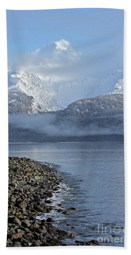 Mountain Bath Sheet featuring the photograph Foggy Mountain Beyond by Rick Monyahan