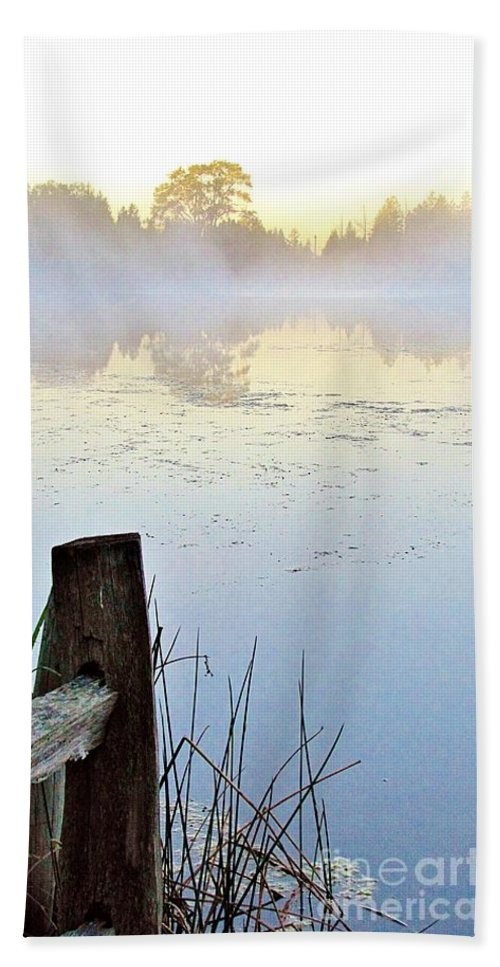 Fog Hand Towel featuring the photograph Foggy Pond by Marilyn Smith