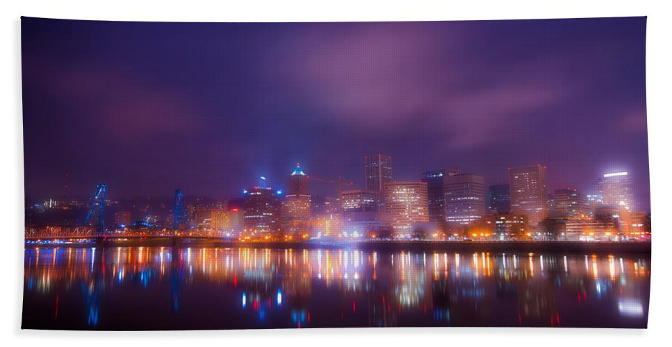 Portland Hand Towel featuring the photograph Foggy Portland Nights by Darren White