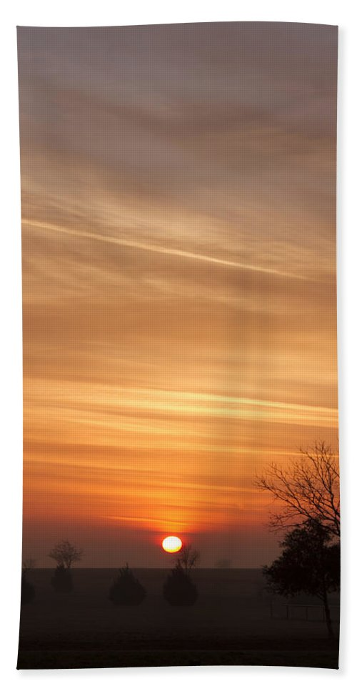 Sunrise Hand Towel featuring the photograph Foggy Sunrise by Debby Richards