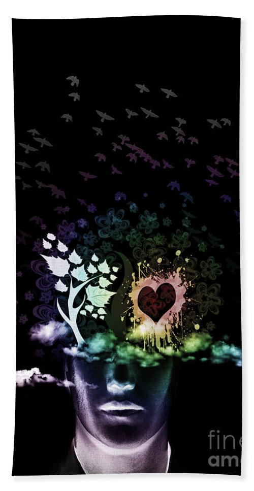 Thoughts Hand Towel featuring the mixed media Foggy Thoughts by Ben Yassa