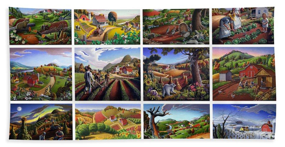 Sampler Bath Sheet featuring the painting Folk Art Seasonal Seasons Sampler Greetings Rural Country Farm Collection Farms Landscape Scene by Walt Curlee