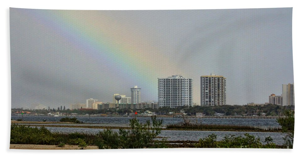 Rainbow Bath Sheet featuring the photograph Follow That Rainbow by Deborah Benoit