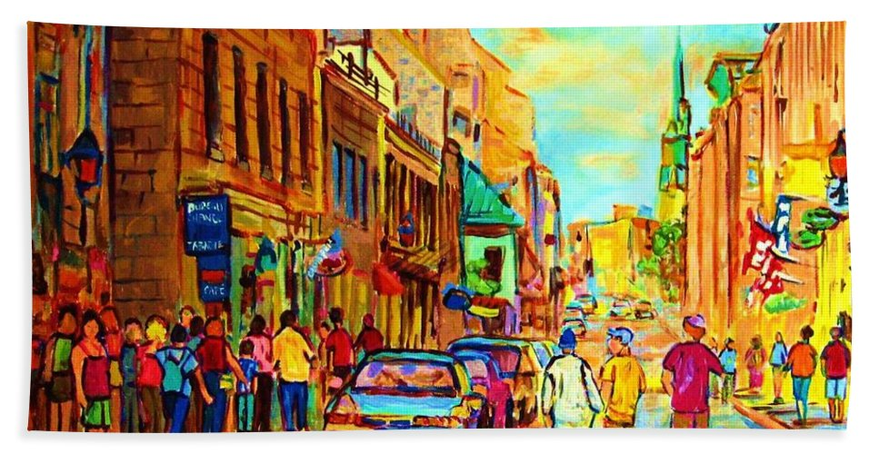 Montreal Bath Towel featuring the painting Follow The Yellow Brick Road by Carole Spandau