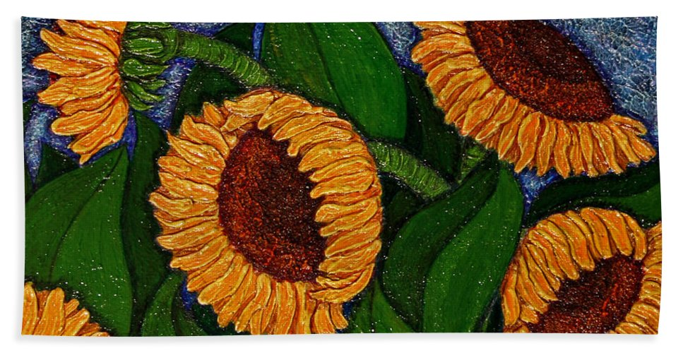 Girasoles Hand Towel featuring the painting Followers Of The Sun by Madalena Lobao-Tello