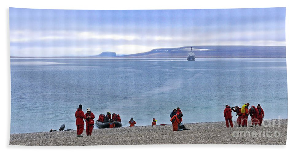 Northwest Passage Bath Sheet featuring the photograph Following The Footsteps Of Roald Amundsen.. by Nina Stavlund
