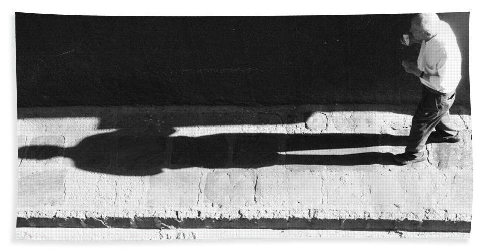 Black And White Photography Bath Sheet featuring the photograph Following The Young Shadow by The Artist Project