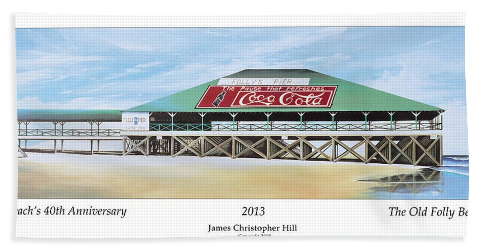 Sunrise Hand Towel featuring the painting Folly Beach Original Pier by James Christopher Hill