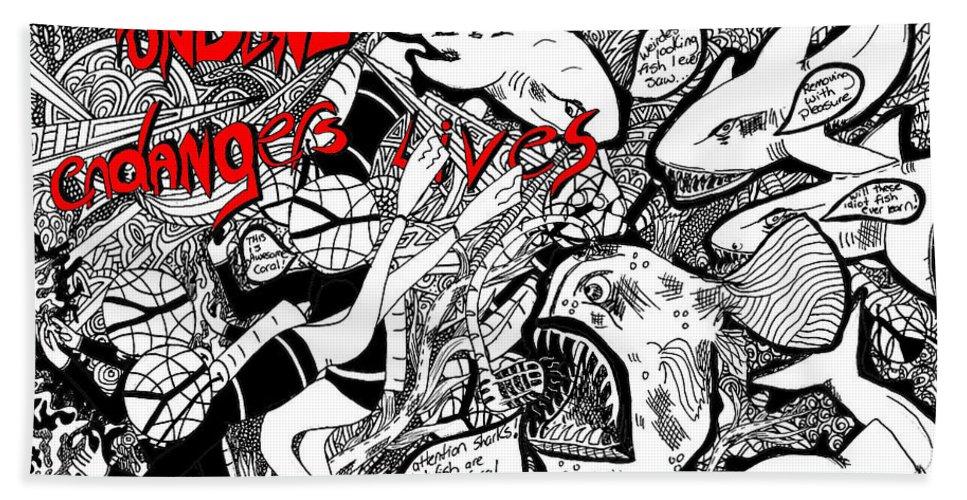 Fish Bath Sheet featuring the painting Fondling Coral..endangers Lives by Karen Elzinga