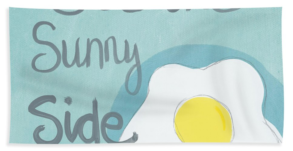 Egg Bath Towel featuring the painting Food- Kitchen Art- Eggs- Sunny Side Up by Linda Woods