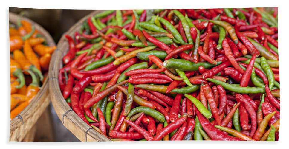 Chili Hand Towel featuring the photograph Food Market With Fresh Chili Peppers by Sophie McAulay